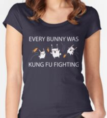 Every Bunny Was Kung Fu Fighting (everybody) Funny Sarcastic Graphic Tee Shirt Women's Fitted Scoop T-Shirt