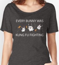 Every Bunny Was Kung Fu Fighting (everybody) Funny Sarcastic Graphic Tee Shirt Women's Relaxed Fit T-Shirt