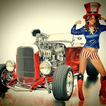 Pinup Calendar July by ratrodstudios
