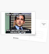 Michael Scott Würde ich lieber geliebt oder gefürchtet werden? Postkarten
