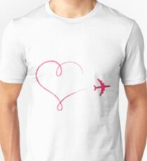 Heart shaped icon in air, made by plane Unisex T-Shirt