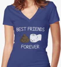 Best Friends Forever Poop Emoji T-shirt Cool Emoticon Tshirt Women's Fitted V-Neck T-Shirt