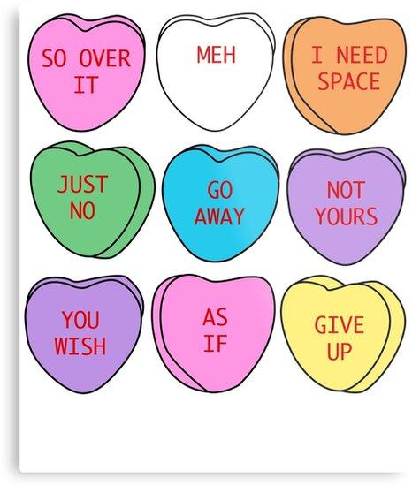 Sarcastic conversation hearts
