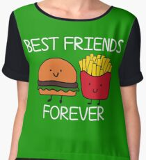 Best Friends Forever T-shirt Cool Hamburger and Fries Potatoes Emoticon Tshirt Chiffon Top