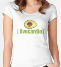 Avocado Cardio Avocardio Photo Vegetable Illustrated Pun for Vegans Vegetarians Funny Women's Fitted Scoop T-Shirt