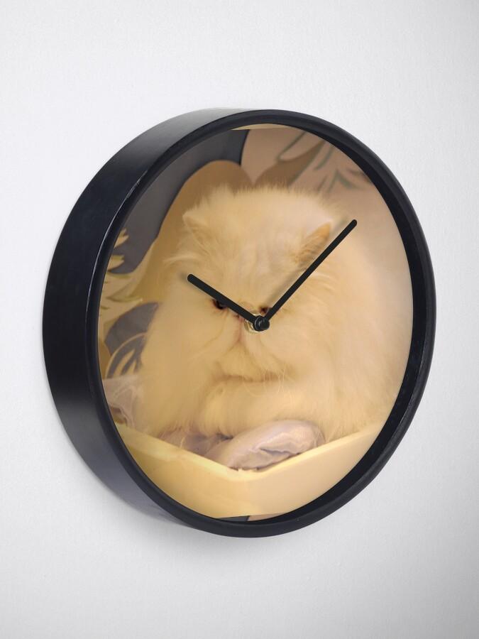 Alternate view of White Persian cat Clock