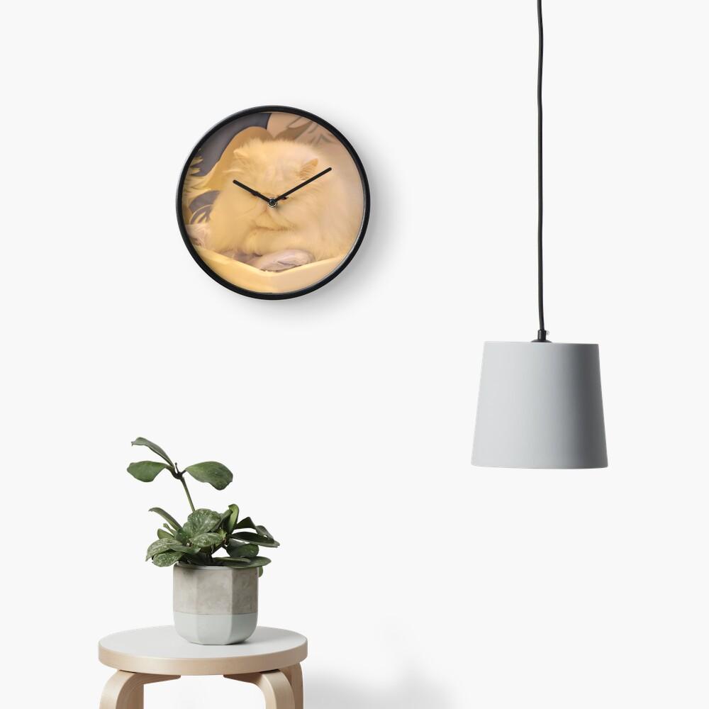 White Persian cat Clock