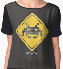 Space Invader Xing Chiffon Top