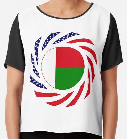 Madagascan American Multinational Patriot Flag Series Chiffon Top