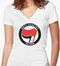 Anti-fascist action Women's Fitted V-Neck T-Shirt