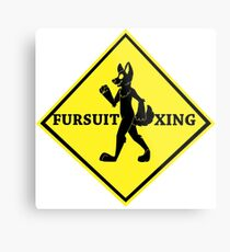 Caution: Fursuit Xing Metal Print