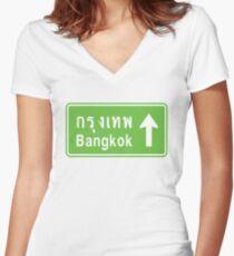 Bangkok, Thailand Ahead ⚠ Thai Road Sign ⚠ Women's Fitted V-Neck T-Shirt