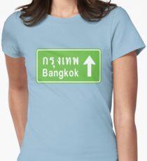Bangkok, Thailand Ahead ⚠ Thai Road Sign ⚠ Womens Fitted T-Shirt