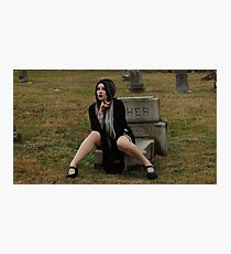 Gothic Graveyard Girl Photographic Print