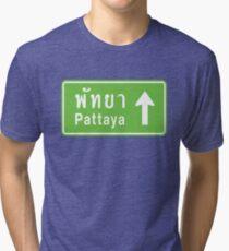 Pattaya, Thailand Ahead ⚠ Thai Road Sign ⚠ Tri-blend T-Shirt