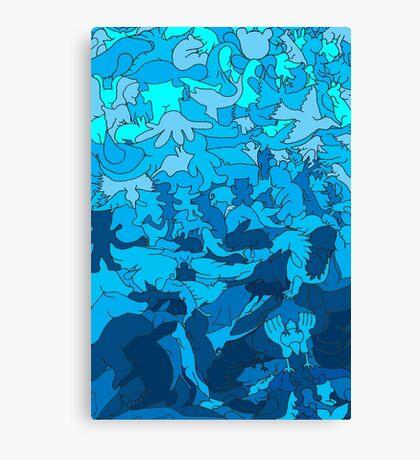 Cookie cutter animals - blue Canvas Print