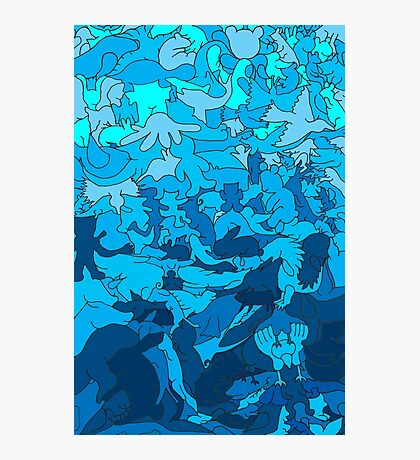 Cookie cutter animals - blue Photographic Print