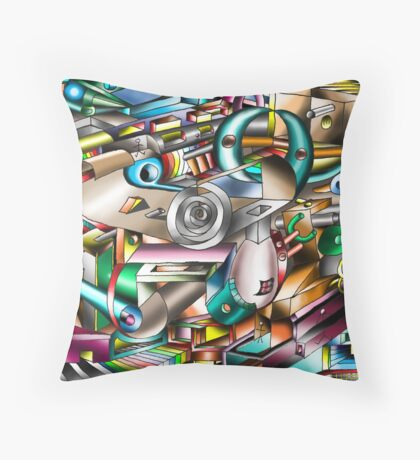 The illusion of City life Throw Pillow