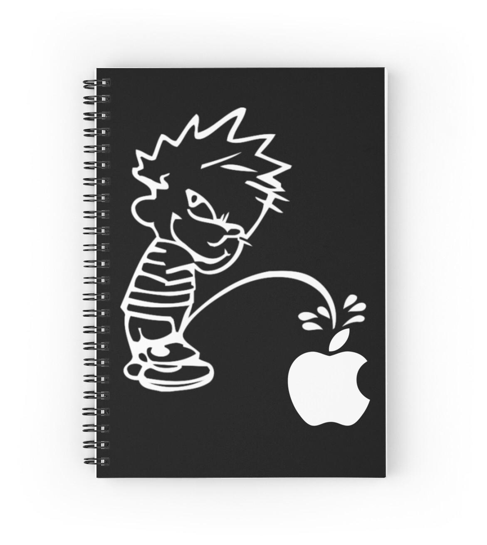 Cuadernos de espiral «Calvin Pisses en Apple Logo / Calvin & Hobbes ...