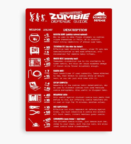 Zombie Defense Guide Canvas Print