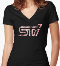 Subaru STI Scratch Women's Fitted V-Neck T-Shirt