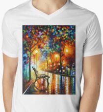 THE LONELINESS OF AUTUMN - Leonid Afremov V-Neck T-Shirt