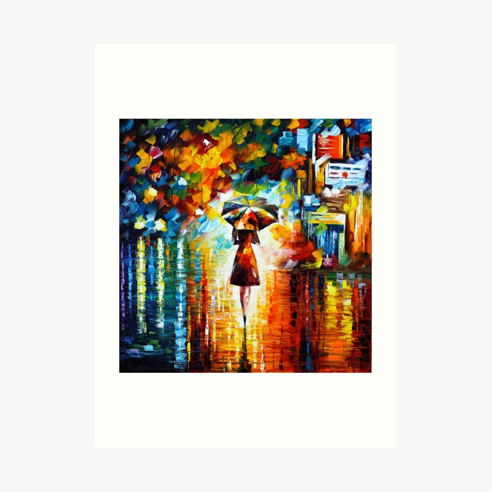 rain princess - Leonid Afremov Art Print