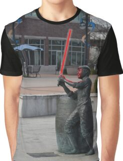 Boy Statue with Lightsaber Graphic T-Shirt
