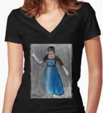 Modeling Her New Harem Outfit Women's Fitted V-Neck T-Shirt