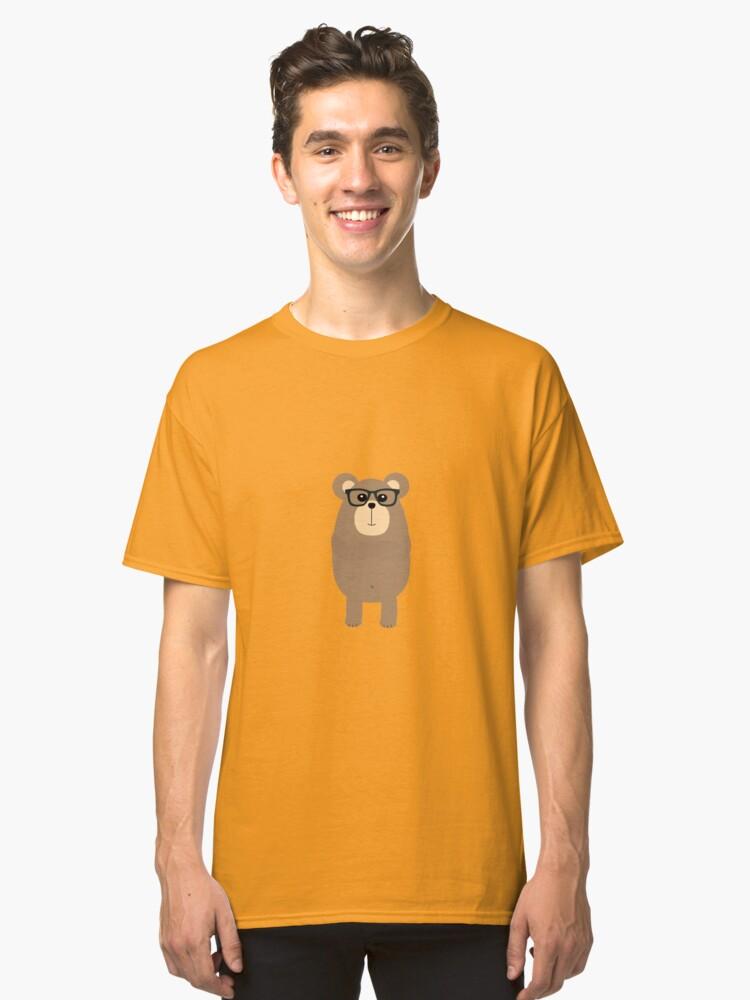 Nerd Brown Bear Classic T-Shirt Front