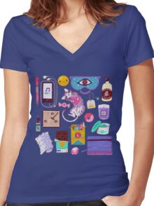 Stress-Relief Kit Women's Fitted V-Neck T-Shirt
