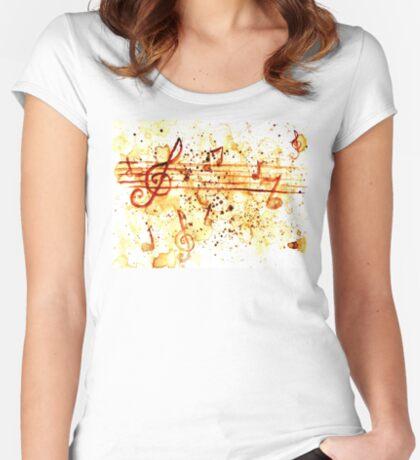Musiknoten Tailliertes Rundhals-Shirt