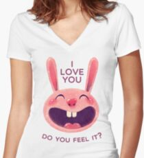 Bunny with love Women's Fitted V-Neck T-Shirt