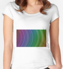 curve ribbon pattern rainbow Women's Fitted Scoop T-Shirt