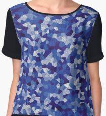 navy blue irregular shape pattern Women's Chiffon Top