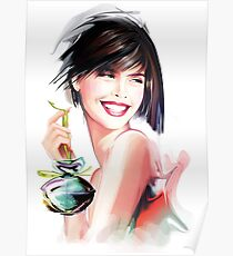 fashion woman with bottle of perfume  Poster