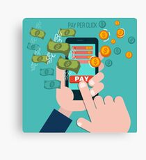 Pay Per Click Mobile Advertising Concept Canvas Print