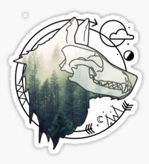 Wolf animal forest totem skull art Sticker