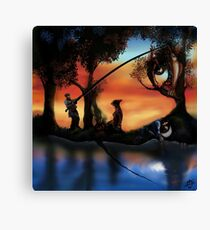 Rotating ART! two pics in one! fishing and gathering/Dali Canvas Print