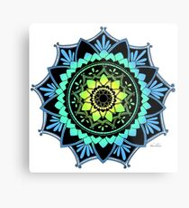 Awakening Mandala Colourized Blue Metal Print