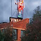 Skipping Girl Neon Sign Red Brick Warehouse by Jane McDougall