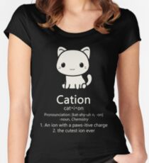 Cute Science Cat- Kawaii Cation Chemistry Pawsitive Women's Fitted Scoop T-Shirt