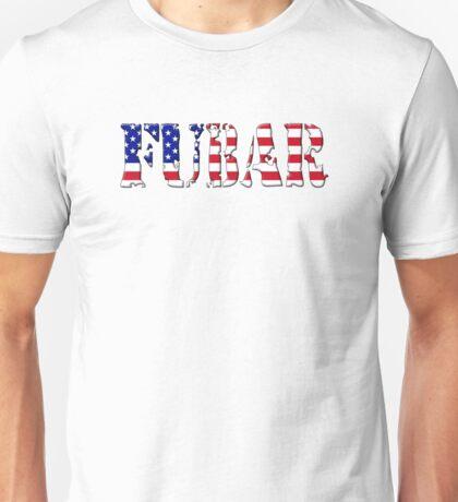FUBAR - USA flag, black outline. T-Shirt