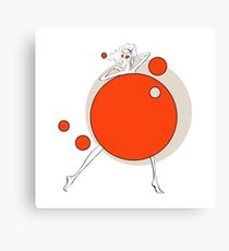 Paper doll with red balls Canvas Print