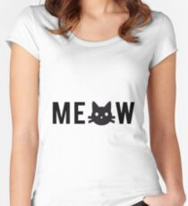 meow, text design, word art with black cat head Women's Fitted Scoop T-Shirt