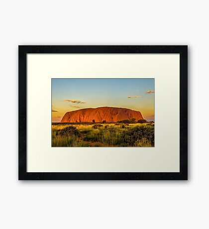 Sunset at the Rock Framed Print