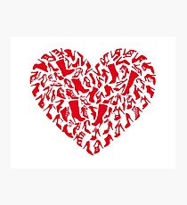 red heart with shoe silhouettes Photographic Print