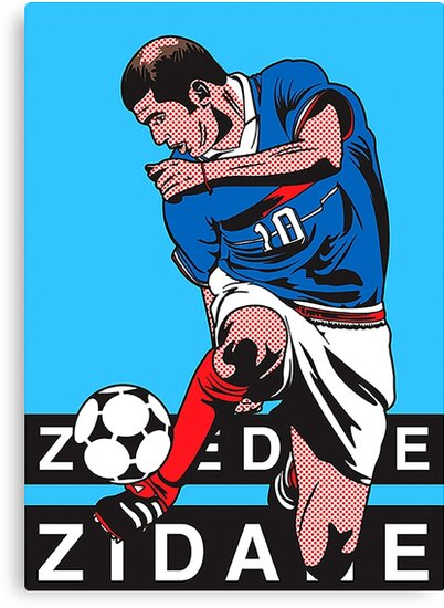 "zidane pop art"" canvas printsfootballlovers   redbubble"