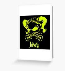 Jassy JJ's One Girl Band - GREEN SKULL by Mien Wayne Greeting Card