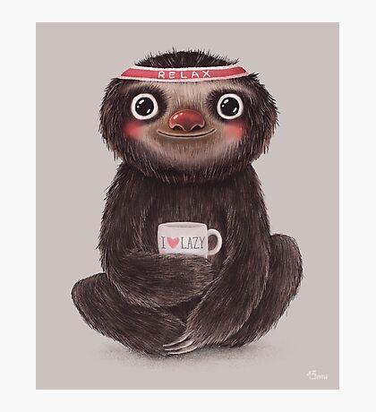 Sloth I♥lazy Photographic Print